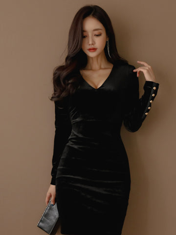 ANNETTE LONG SLEEVE VELVET DRESS