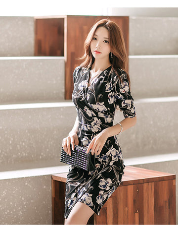 SALLY V-NECK FLORAL DRESS