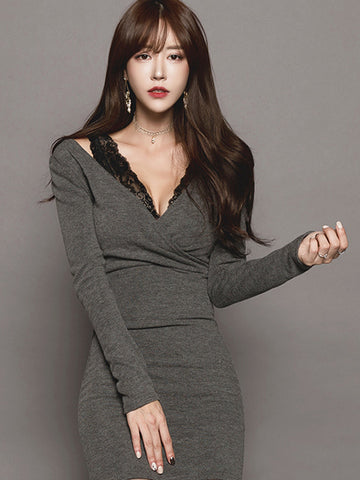 Jane V-neck slim long sleeve dress