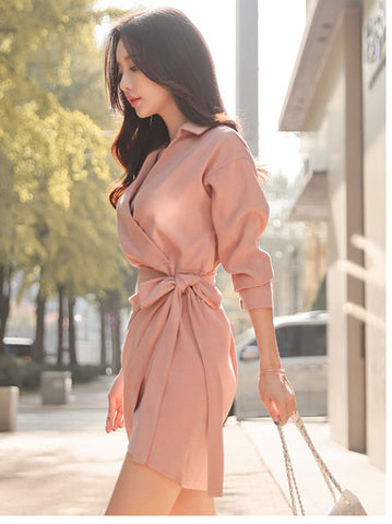 Adel collared hip dress
