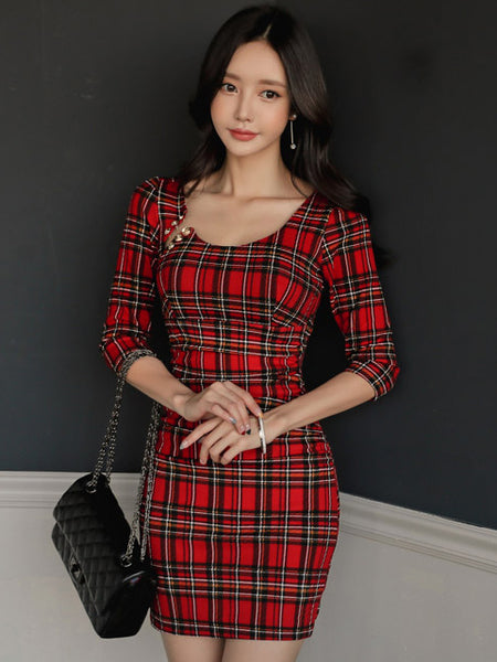 REESE RED PLAID DRESS