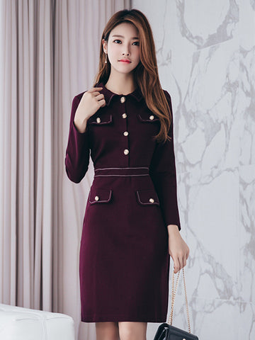 MAKENA LONG-SLEEVED ELEGANT DRESS