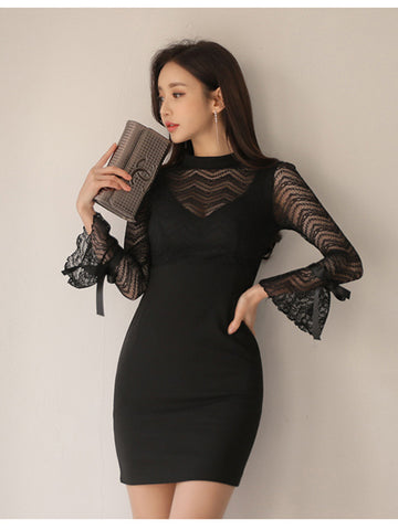 DANIA LACE TRUMPET SLEEVE DRESS