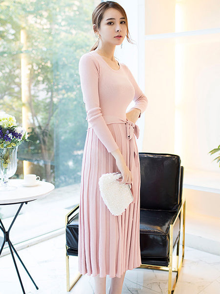 MAISIE PLEATED SKIRT LONG DRESS