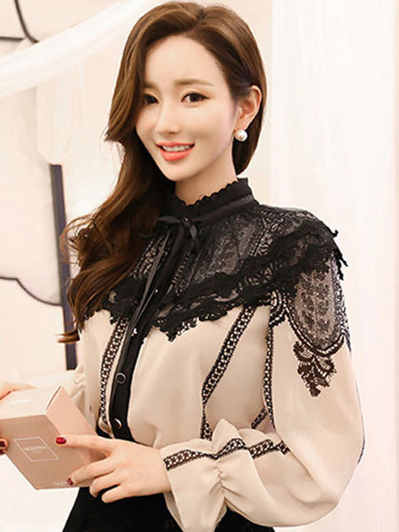 LANA LACE COLLAR CHIFFON TOP