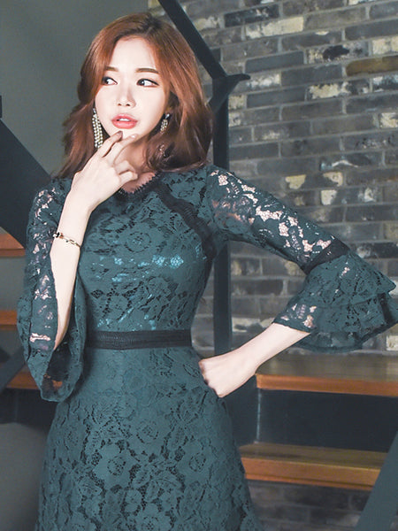 FABIANNA LACE TRUMPET SLEEVE DRESS