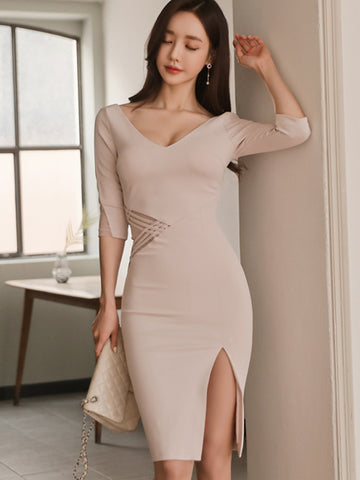 NESS HOLLOW HIP SLIT DRESS