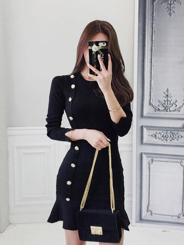 BELLE SLIM LONG SLEEVED KNIT DRESS
