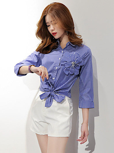 Camille Striped Top in Blue