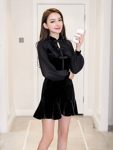 HANNAH BLACK CHIFFON SLEEVE DRESS