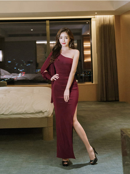 Effie shoulder slit long dress