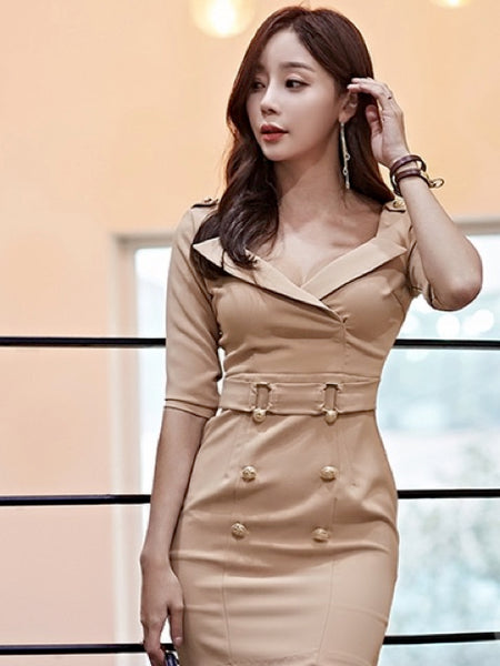 Jassi V neck Double Breasted Dress