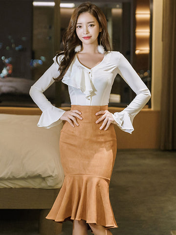 CAMILLE TRUMPET SLEEVE TOP AND FISH TAIL SKIRT SET