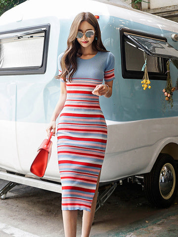 Sam colored striped dress
