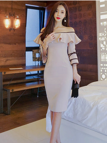 KARISSA OFF SHOULDER FLOUNCED DRESS