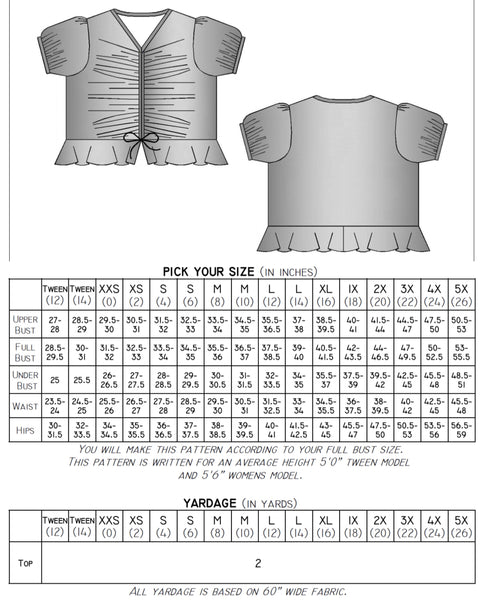 The Tether Top (Women's Sizes) PDF Sewing Pattern