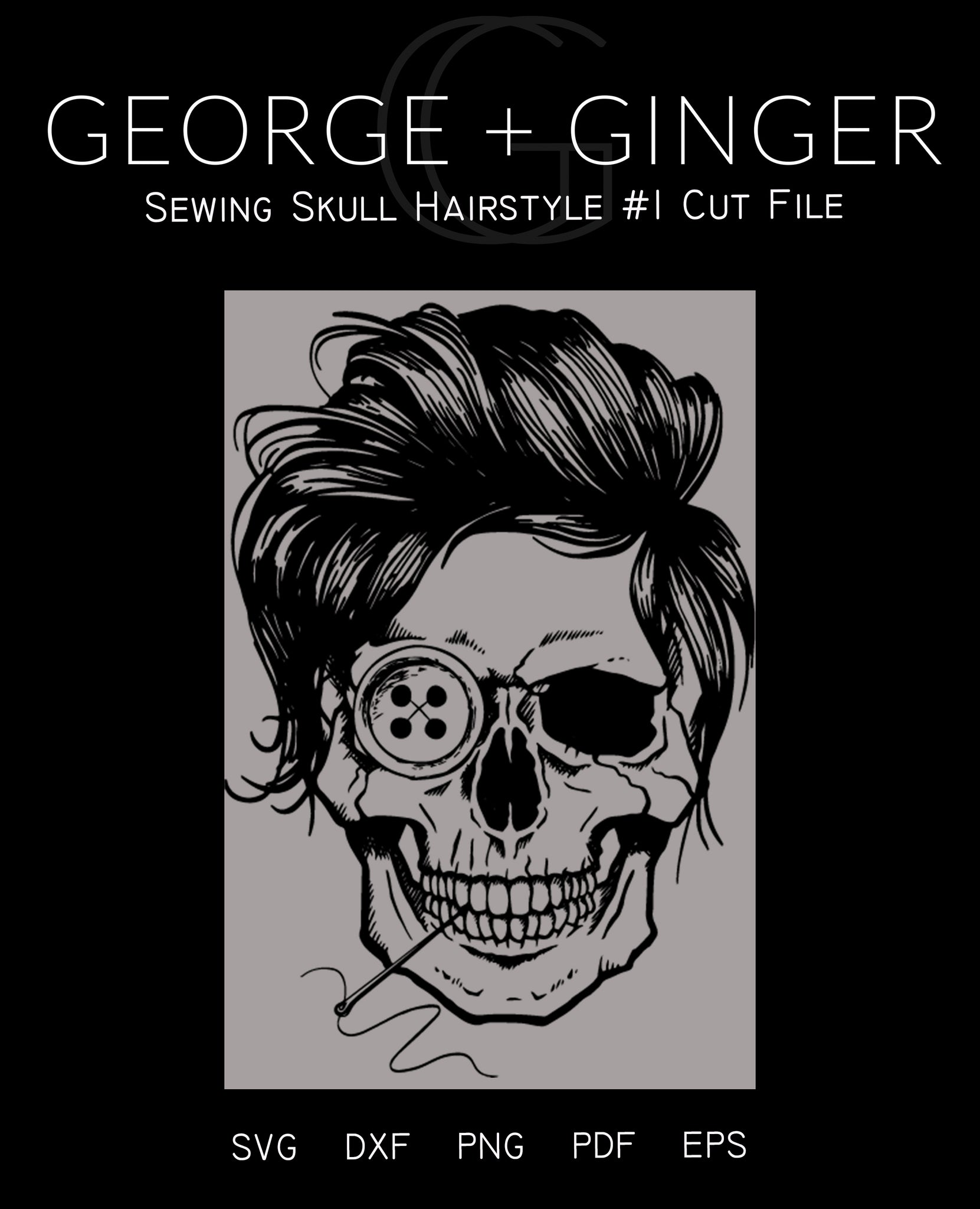 Sewing Skull (Hairstyle #1) Digital Cut File