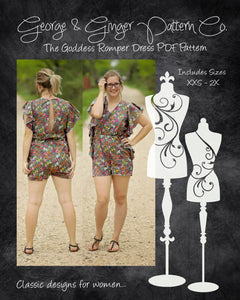 The Goddess Romper Dress (Women's Sizes) PDF Sewing Pattern