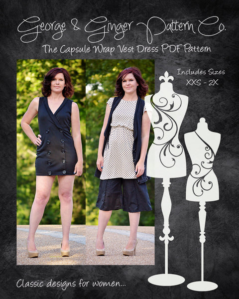 The Capsule Wrap Vest Dress (Women's Sizes) PDF Sewing Pattern