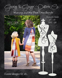 The Mommy & Me Pleat Dress Bundle (Women's and Children's Sizes) PDF Sewing Pattern