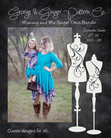 The Mommy & Me Ginger Dress Bundle (Women's and Children's Sizes) PDF Sewing Pattern