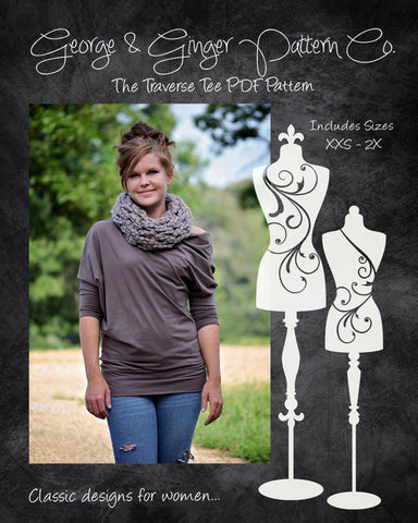 The Traverse Tee (Women's Sizes) PDF Sewing Pattern