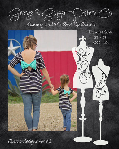 The Mommy & Me Bow Top Bundle (Women's and Children's Sizes) PDF Sewing Pattern
