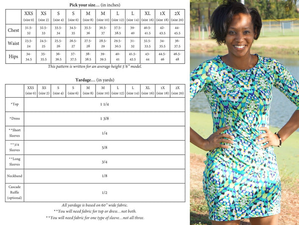The Sassy Side Top and Dress (Women's Sizes) PDF Sewing Pattern