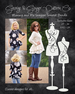 The Mommy & Me Swagger Sweater Bundle (Women's and Children's Sizes) PDF Sewing Pattern