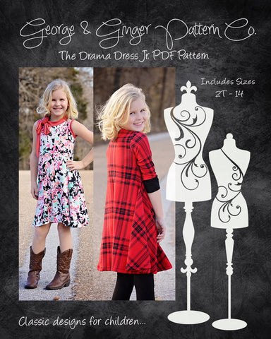 The Drama Dress Jr. (Children's Sizes) PDF Sewing Pattern