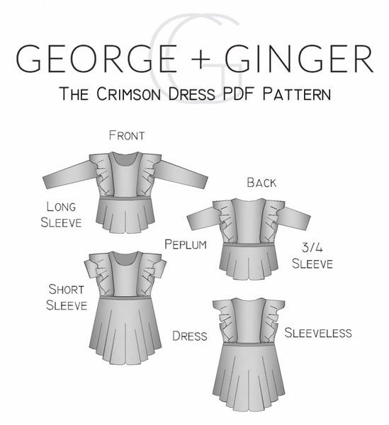 The Crimson Dress (Women's Sizes) PDF Sewing Pattern