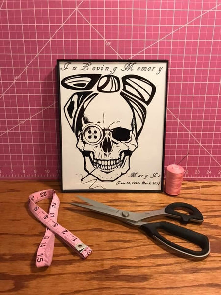 Sewing Skull (Hairstyle #35) Digital Cut File
