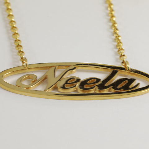 "22K Yellow Gold ""Neela"" Name Necklace"