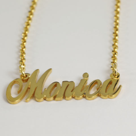 "22K Yellow Gold ""Monica"" Name Necklace"