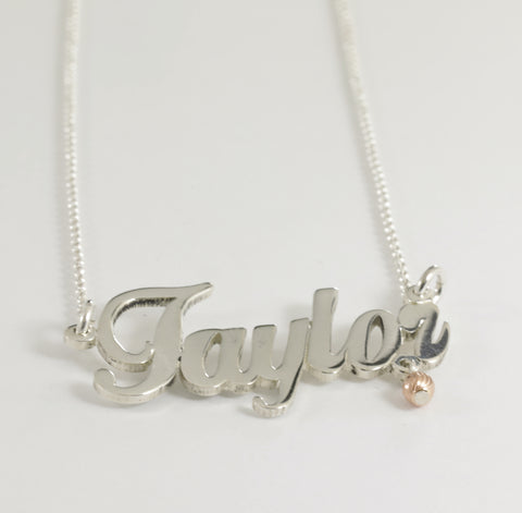 "Sterling Silver ""Taylor"" Name Necklace"