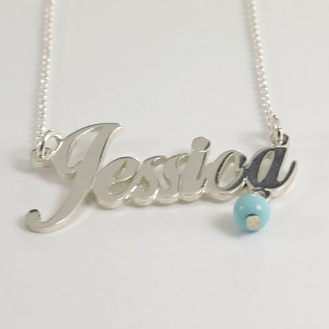 "Sterling Silver ""Jessica"" Name Necklace"