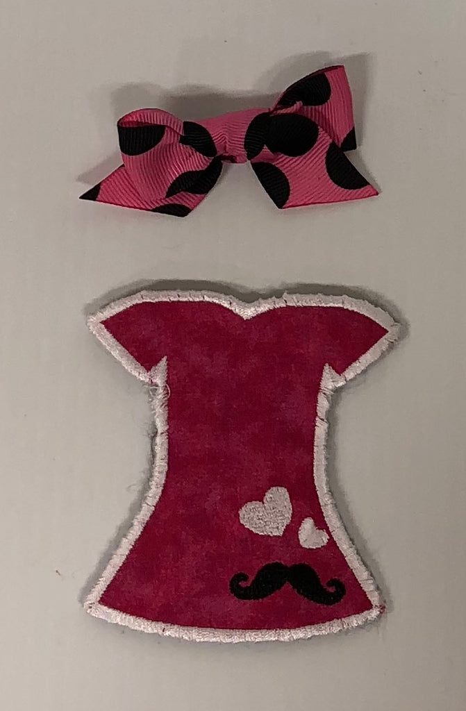 Pink Hearts & Mustache Dress - Mystery Bow