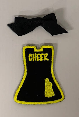 Yellow & Black Cheer - Black Bow