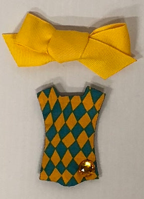 Checker Swimsuit - Yellow Bow