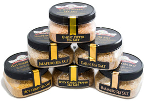 Hot Pepper Spicy Sea Salt Combination 6-Pack-Grocery-Caravel Gourmet