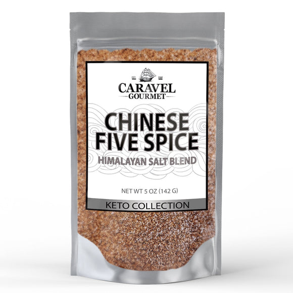 Keto Collection - Chinese Five Spice Himalayan Pink Salt Blend - Cinnamon, Cloves, Fennel, Star Anise, Black Pepper- 5 Ounces - by Caravel Gourmet-Grocery-Caravel Gourmet