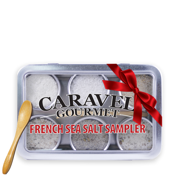 The French Sea Salt Sampler - Reusable Tins & Bamboo Spoon-Grocery-Caravel Gourmet