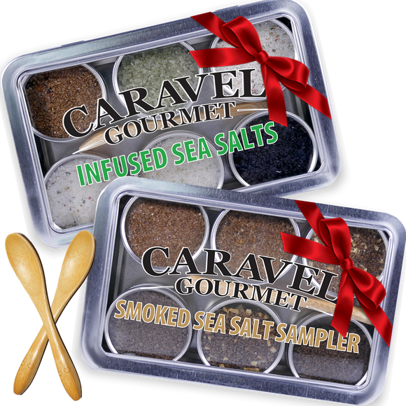 The Gourmet Sea Salt Sampler 2-pack - Infused + Smoked Duo - Reusable Tins & Bamboo Spoon-Grocery-Caravel Gourmet