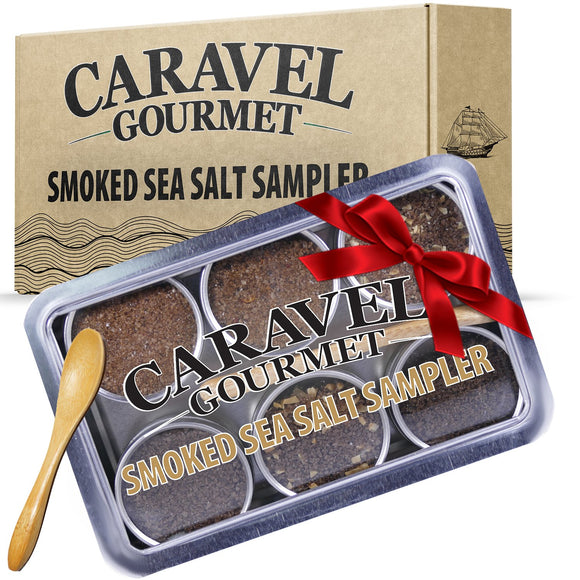The Smoked Sea Salt Sampler - Reusable Tins & Bamboo Spoon-Grocery-Caravel Gourmet