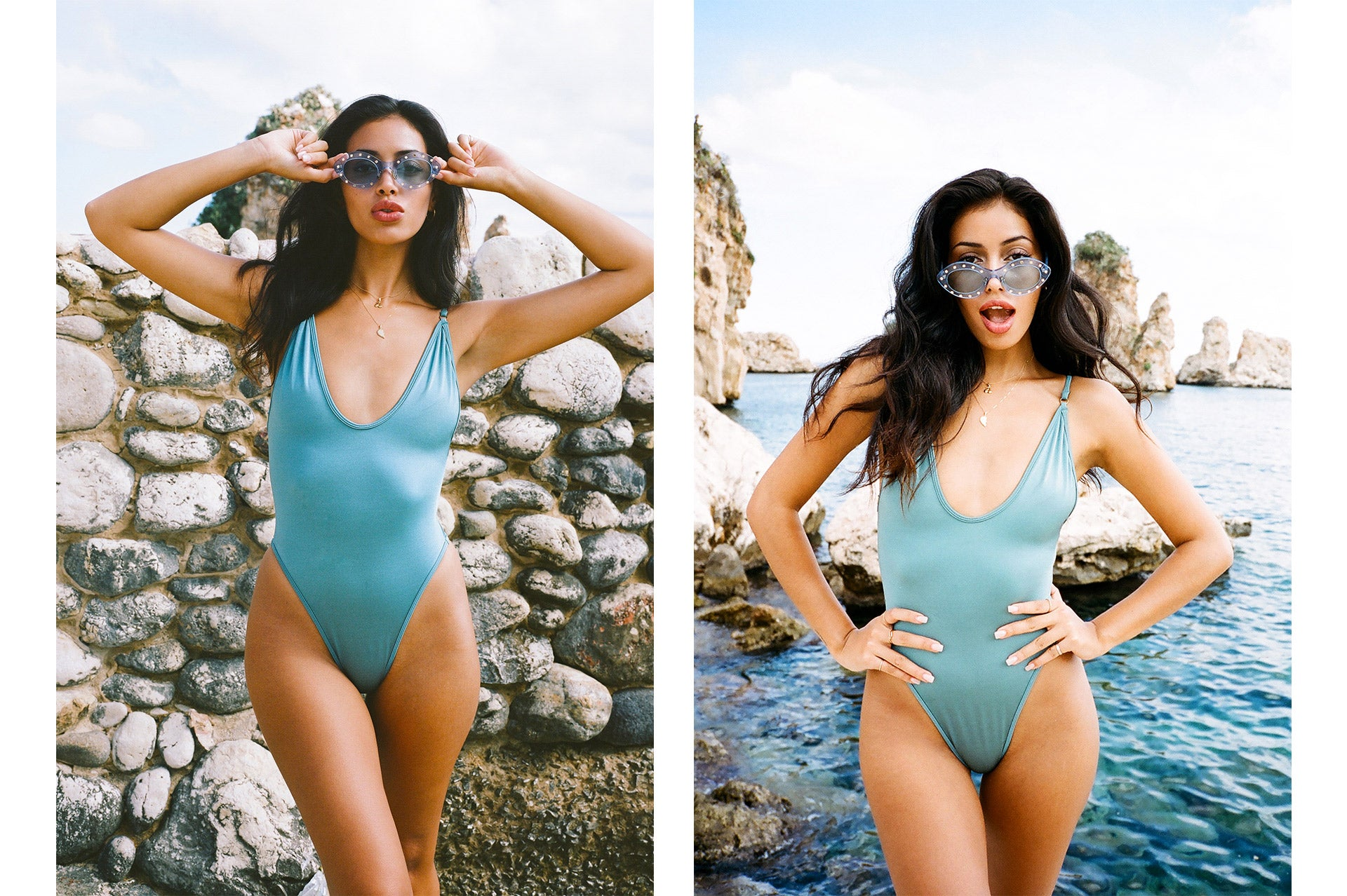 Cindy Kimberly wearing the So Chic One Piece in Blue Lagoon with a matching pair of sunglasses