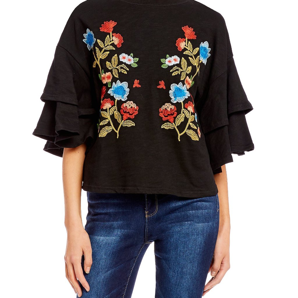 Ruffle Sleeve Black Embroidered Top