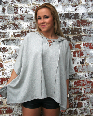 Lace Up Poncho Hoodie