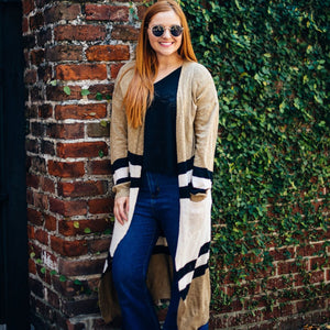 Long Black and Taupe Striped Cardigan