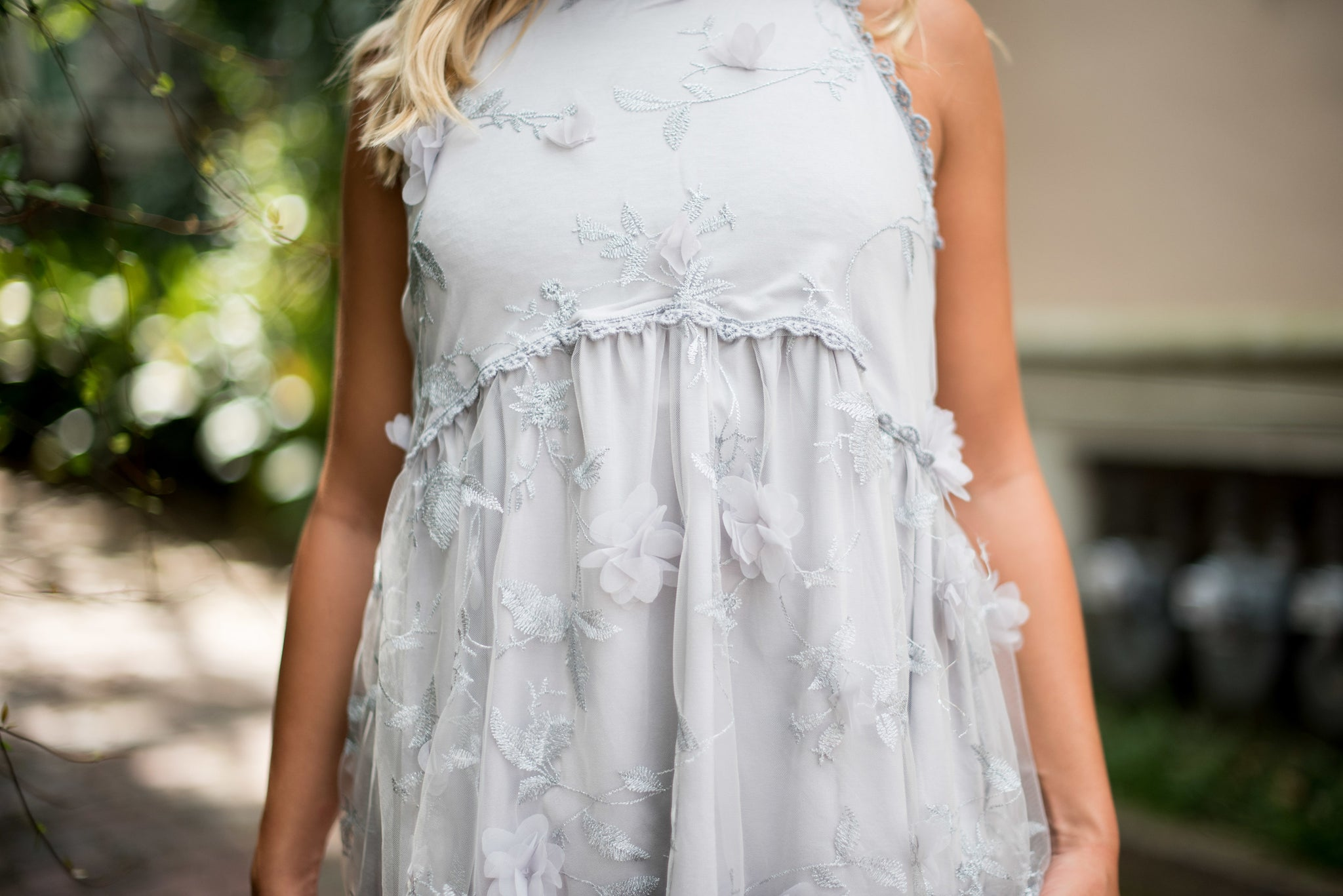 High Neck Tank With Chiffon Flower Detail