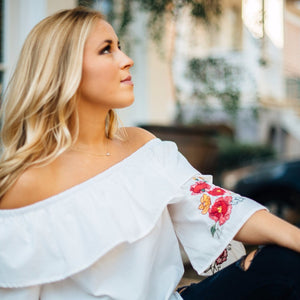 White Off the Shoulder Embroidered Top with Tie Details